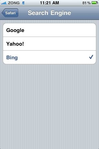 Bing in iOS 4