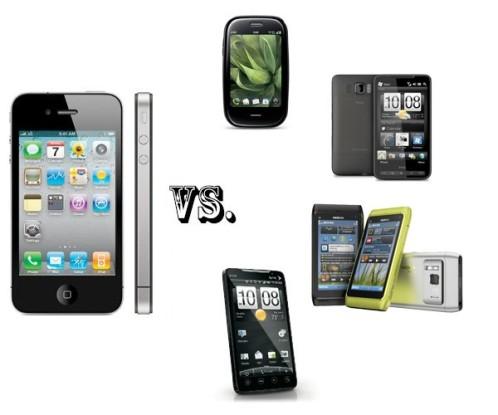 Top Phones Comparison: iPhone 4 vs Nokia N8 vs HTC Evo 4G vs Palm Pre Plus vs HTC HD2