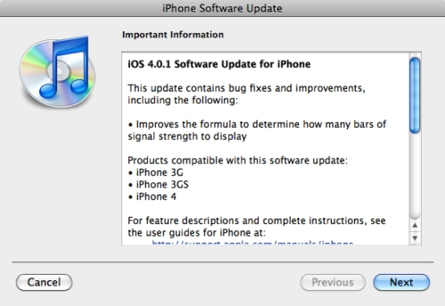 update to ios 4.1