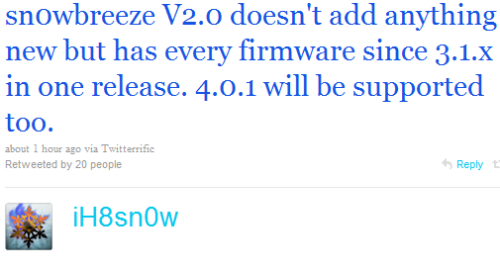 Snowbreeze 2.0 to Support Firmwares 3.0.x to iOS 4.0.1