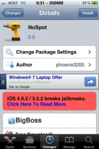NoSpot Removes Spotlight Search to Speedup iPhone 3G on iOS 4.x [Cydia]