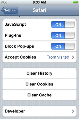 how to clear cookies from an iphone