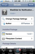 WeeSlide Notification Widget to Control Volume, Brightness and Wifi Toggle on iPhone [Cydia Tweak]