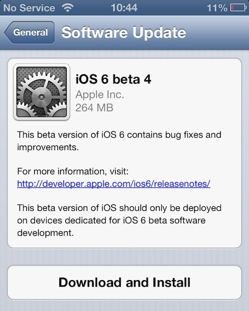 iOS 6 Beta 4 Build 10A5376e Released with Expiry Date September 30, 2012
