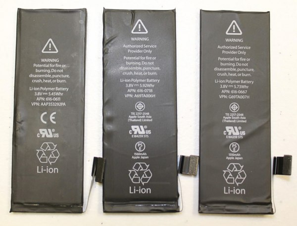 Batteries from left to Right; iPhone 5, iPhone 5s and iPhone 5c