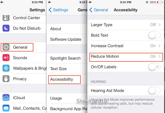reduce motion home button ios 7