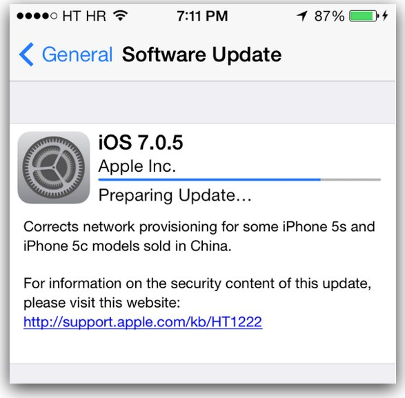 Apple releases iOS 7.0.5