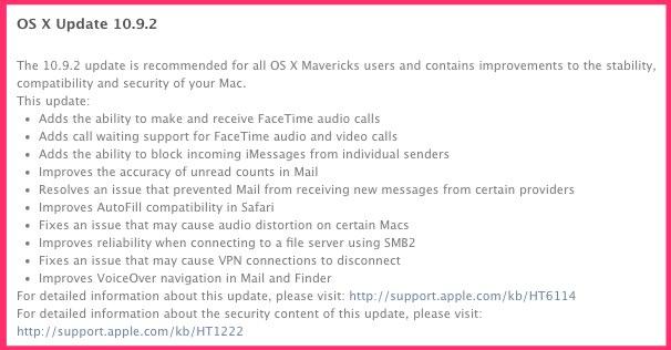 OS X 10.9.2 Mavericks Released with SSL Bug Fix, FaceTime Audio, Block iMessages etc