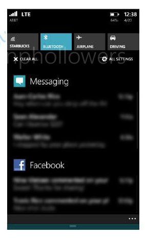 Windows phone 8.1 blue notification center