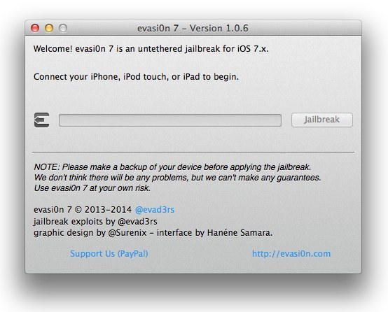 Evasi0n7 1.0.6 Now Available for Download to Jailbreak iOS 7.0.6 Untethered