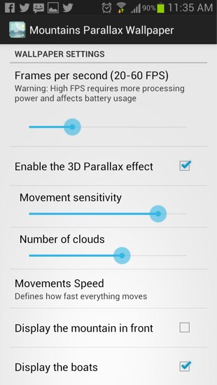 parallax wallpaper settings