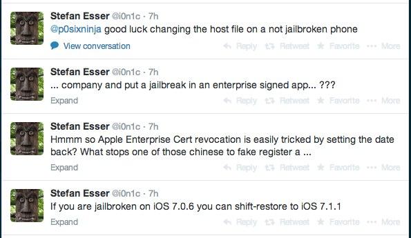 Stefan Esser (i0n1c) on iOS 7.1.1 jailbreak