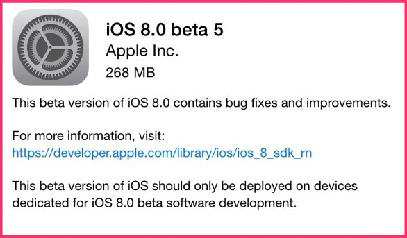 Apple Delivers iOS 8 Beta 5 to Developers