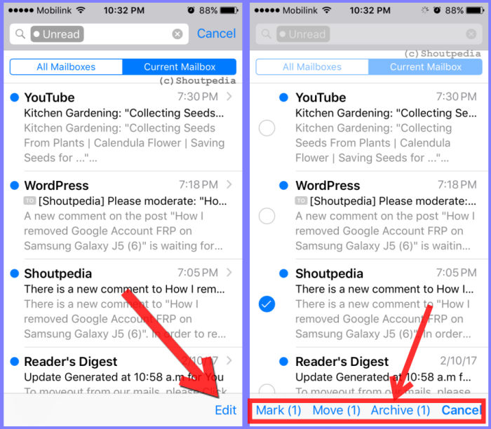 how to delete all unread email on iOS 10