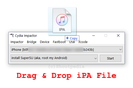 how to intall IPA file using Cydia Impactor with Drag and Drop method