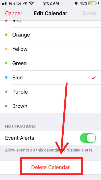 how to delete facebook events birthdays from iPhone calendar