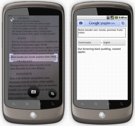 Google Goggle 1.1: Capture and Get the Text Translated