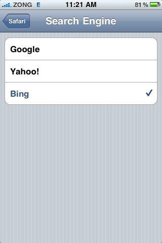 Bing in iOS 4