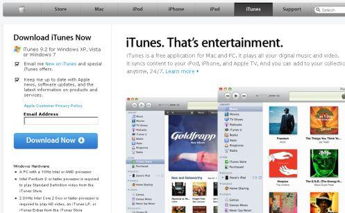 Step 1 iTunes 9.2