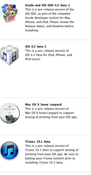 Download Links for iOS 4 2 Beta 2 and iTunes 10 1 Beta