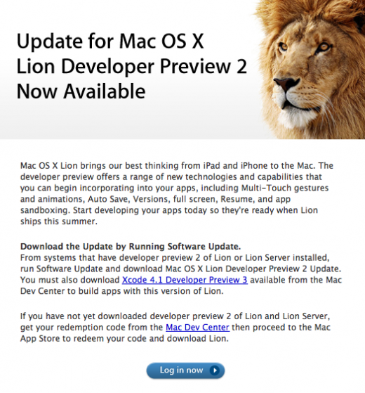 Mac OS X - Lion Preview 2 update