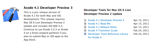 Xcode 4.1 Preview 3 available