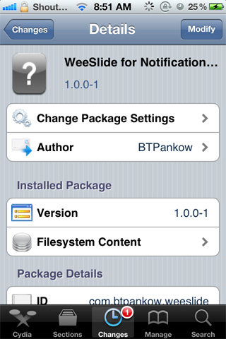 WeeSlide Notification Widget to Control Volume, Brightness and Wifi Toggle on iPhone [Cydia Tweak]