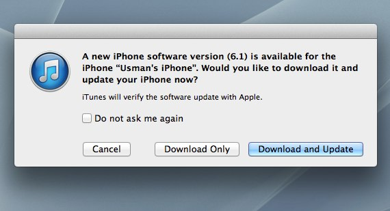 iOS 6.1 update Notification