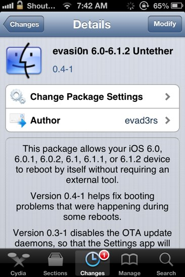 Download evasi0n 1.5 to fix long Bootup Time Issue