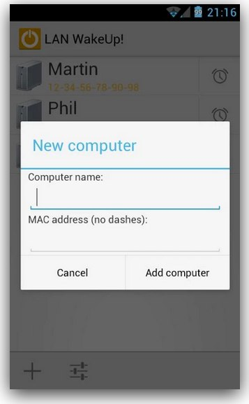 LAN wakeup android wifi