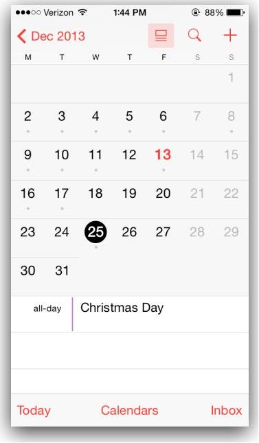 calendar app iOS 7.1