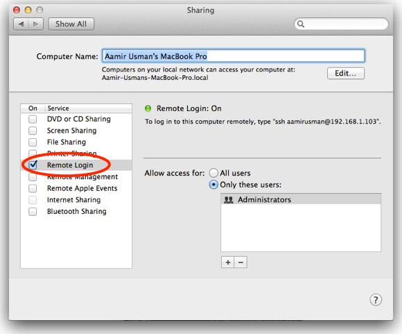 enable sharing on mac
