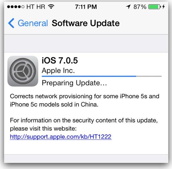 Apple releases iOS 7.0.5
