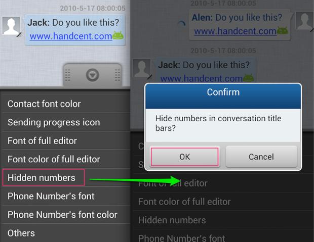 hide numbers conversation list