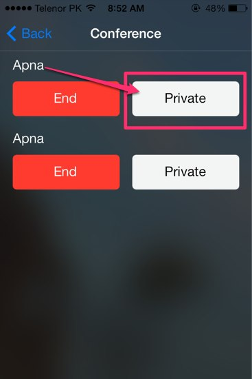 talk privately iOS 7
