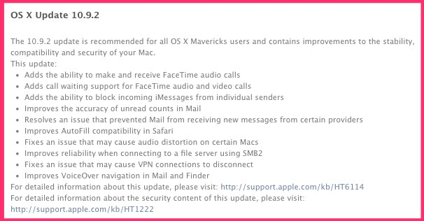 mavericks OS 10.9.2