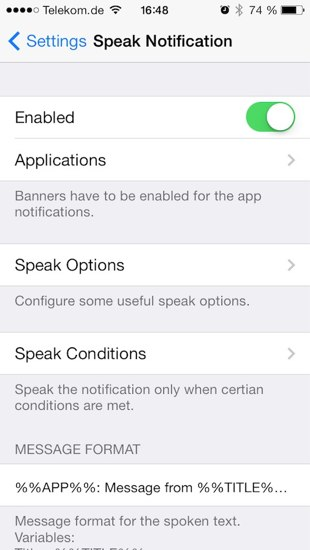 Speak notifications iOS 7