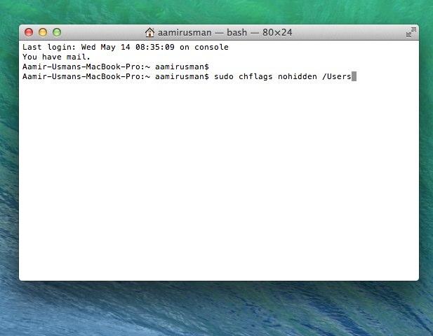 users folder hidden in OS X 10.9.3
