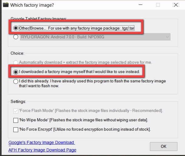Already downloaded factory android 7 images