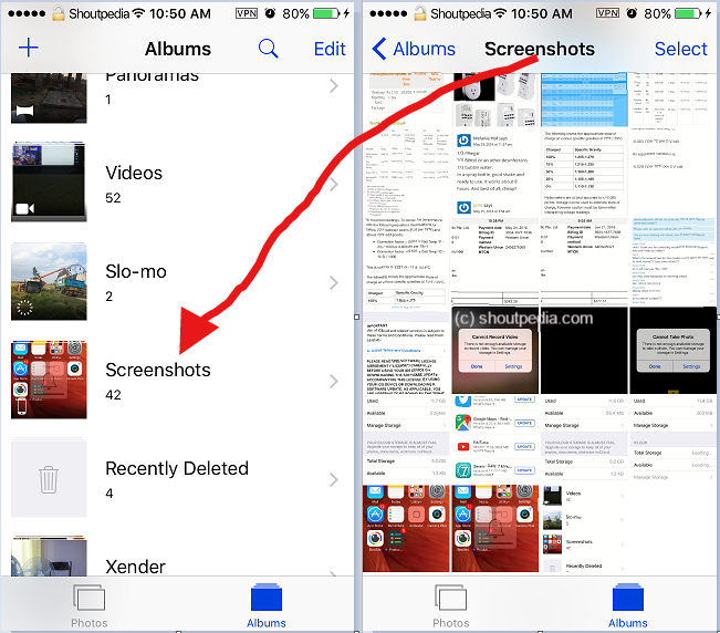 Screenshots Album in Photos App