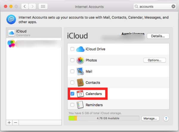 turn on facebook calendars in icloud