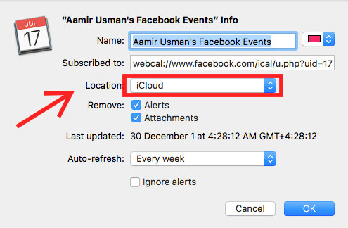 step by step to show facebook events in iphone