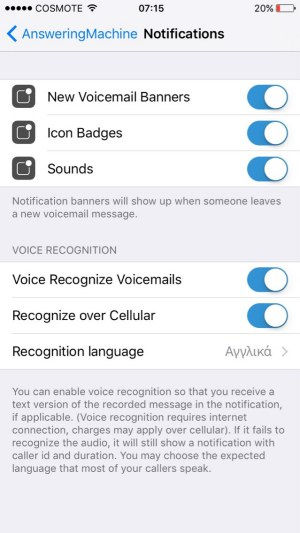 how to set custom notifications for voice mails in answering machine app