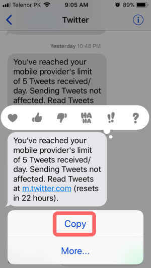 copy SMS
