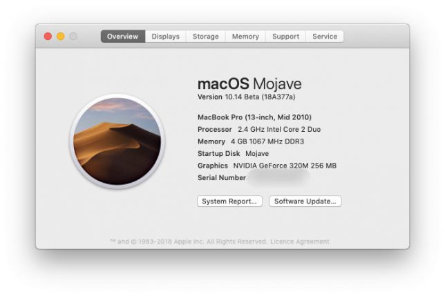 MacBook Pro Mid 2010 Running Mojave