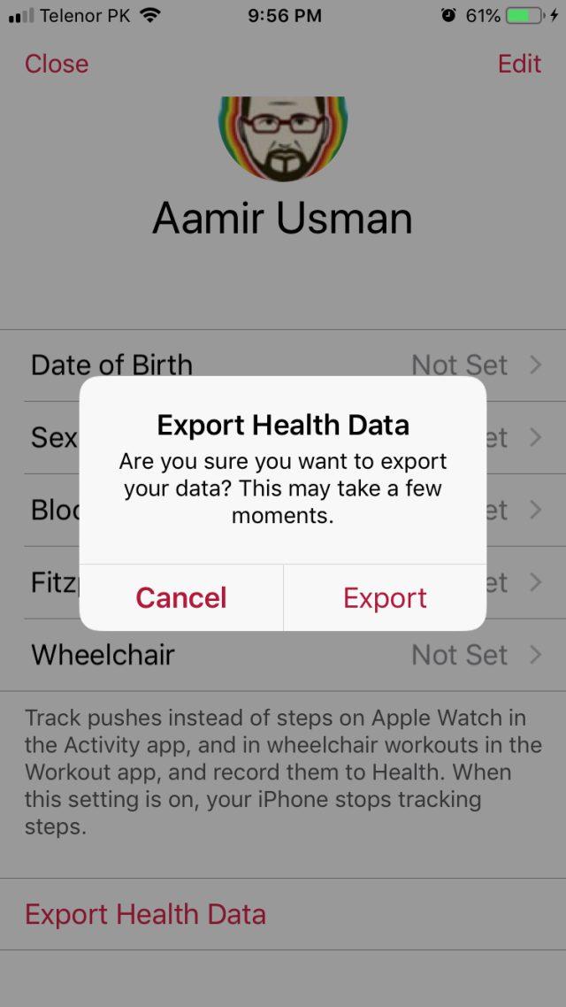 Export health data