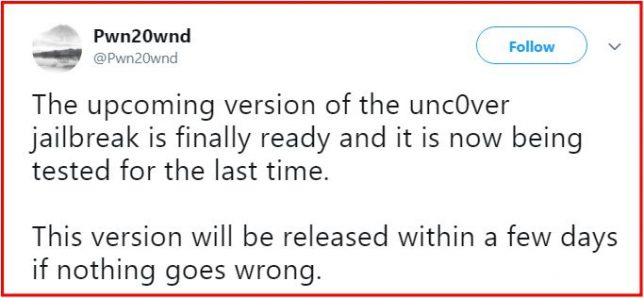 unc0ver ETA latest update