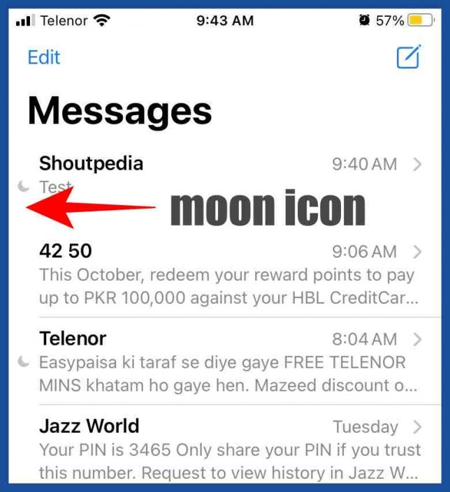 Moon crescent icon in messages